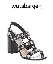 Prada Black Grommet-Embellished Slingback Sandals $750 Size 37