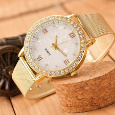 Classic Women Watch Analog Crystal Gold Mesh Band Stainless Steel Wrist Watches
