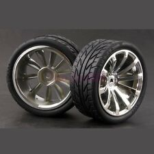 6mm Offset RC 1:10 On-Road Car Foam Rubber Tyres Tires Wheel Rim silver 605-8002