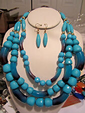 Three Layers Multi Blue Turquoise Lucite Bead Chunky Necklace Earring Set