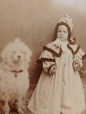 Antique Cabinet Card Photo d1890s Identified Little Girl Hooded Cape Poodle Dog