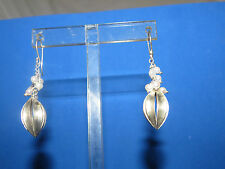 In Bloom Sterling Silver Split Pod Earrings Pearls Pierced Fish Hook Ear Wires