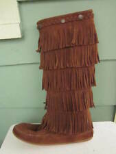 MINNETONKA MOCCASIN 1652 WOMEN'S 5 LAYER FRINGE BOOT BROWN SUEDE Size 9 $100 NEW