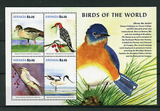 Grenada 2015 MNH Birds of World 4v M/S Egyptian Geese Woodpeckers Avocet Waxwing