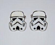 Nice Star Wars ROTJ Storm Trooper Head White Space Helmet Men's Metal Cuff Links