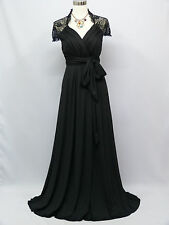 Cherlone Plus Size Chiffon Black Maternity Bridesmaid Wedding/Evening Dress 18