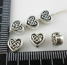 30pcs Tibetan silver Heart Spacer Beads Charms 7x6.5mm (Lead-free)