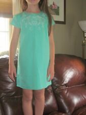 NWT-$78 Juicy Couture MINT Green Embroidered HEART Shift Cotton Dress 6-NEW