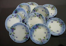 10 Round  Plate Hand Painted Purple Orchid Dollhouse Miniatures Food Deco