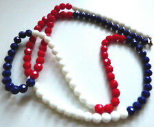 Vintage Art Deco Red White Blue Faceted Glass Bead Flapper Necklace