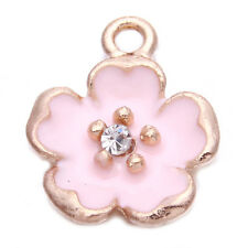 100x Wholesale Pink Enamel Golden Flower Inlay Rhinestone Alloy Charms Pendant C