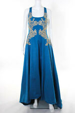Marchesa Notte Blue Gold Gilded Royal Teal Gown Size 4 new $1295 10297989