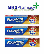 3x Fixodent Plus Dual Power For Full & Partial Denture Adhesive Cream 40g