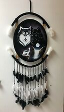 """WOLFS & WATERFALL  OVAL VELVET PAINTING , 44"""" BY 21"""" , HAND PAINTED MANDALA"""
