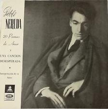 """PABLO NERUDA- 20 POEMAS DE AMOR Y UNA CANCION DESESPERADA LP 12"""" CHILE RARE 1964"""