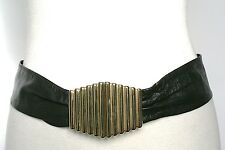 S - Vintage Belt -  80s Black soft leather belt - Gilt clasps
