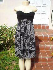 DIANE VON FURSTENBERG Black White Silk Chain Print Strapless Asti Dress Sz 6
