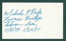 "US Embassy Worker Malcolm Kalp signed 3""x5"" card 1979 Iran Hostage 444 Days"