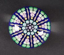 PERTHSHIRE CONCENTRIC MILLEFIORI BLUE GLASS PAPERWEIGHT