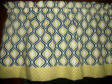 Olive Green Blue Polka Dot Teardrop Ogee Oval retro mid-century curtain Valance