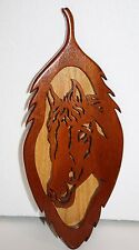 "Natural Wood HORSE Head Plaque Western Art Cut Out Wooden Wall Hanging 16"" x 6"""
