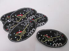 Set of 10 Handmade Christmas Card Embroidered Black Oval Patches Badges #7F18