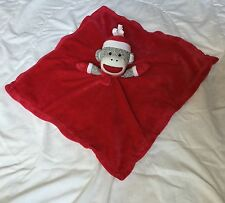 "Baby Starters Sock Monkey Red Lovey 17"" Square White Silky Back Hat Mittens"