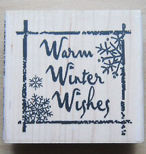 INCA Christmas Stamp WARM WINTER WISHES TEXT  Rachel Greig 5018g 8cm x 7.5cm
