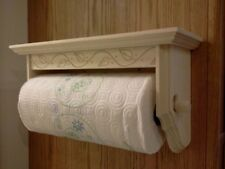 PAPER TOWEL HOLDER WITH SHELF SOLID PINE UNFINISHED