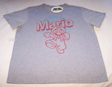Nintendo Super Mario Mens Grey Marle Printed T Shirt Size L New