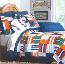 AUTHENTIC KIDS TWIN QUILT 2pc SET GREEN BLUE WHITE ORANGE RED GRAY ALL SPORT BOY