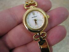PEUGEOT Gold Tone STIFF BANGLE BRACELET WRIST WATCH Buckle ELEGANT/DRESSY