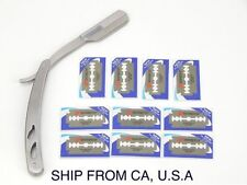 100% Stainless Steel Straight Edge Barber Razors with 10 Dorco Blades