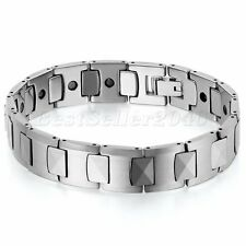 Heavy Classic Tungsten Carbide Men Wide Link Black Magnetic Health Bracelet 7.8""