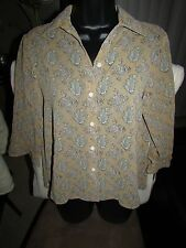 Retail $58 NWT Liz Claiborne Lizsport PS 3/4 Sleeve  Button Down Beige Blouse