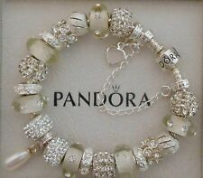 Authentic Pandora Bracelet Genuine Swarovski Pearl 925 Sterling Safety Chain