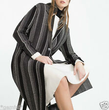 ZARA SIZE S 36 38 STRICKMANTEL MANTEL SCHALKRAGEN LONG JACQUARD KNIT COAT JACKET