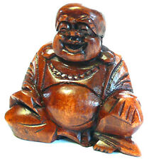 BOUDDHA Rieur BOIS MASQUE BOUDDHISME WOODEN HAPPY BUDDHA STATUE Chinois