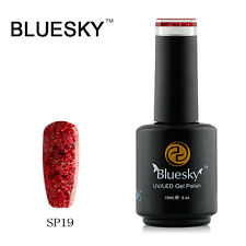 Bluesky Soak Off UV LED Gel Nail Polish Red Fireworks Glitter SP19
