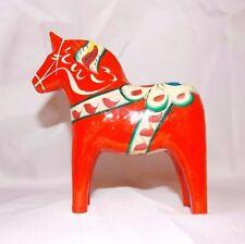 Vintage Swedish Dala Horse Carved Wood Folk Art,-John Gudmunds Rättvik Orange