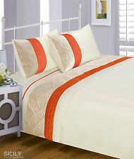 Luxury Quilted Sicily Duvet Cover Bedding Set Red, Orange, Duck Egg
