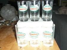 Lot 6 verres PAMPRYL PUBLICITAIRES VINTAGE jamais utilises