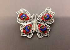 Enamel Russian Rostov Finift Vintage Style Brooch hand painted. Red butterfly