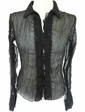 SEXY Goth SHEER BLACK CRINKLE CHIFFON FRILL BLOUSE Top VICTORIANA Dark Angel 12