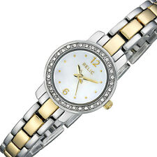 New RELIC by Fossil Ladies Jenna Two-Tone Watch Mother Pearl Dial Glitz Crystals