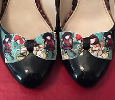 Gorjuss Shoe Clips 4 Shoes Bows Pinup Rockabilly Goth Flats Vintage Burlesque ❤️