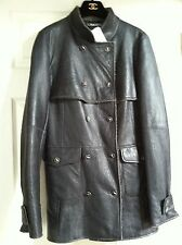 Chanel 07A NEW TAGS MOST WANTED Grey Slate Leather Shearling Coat FR40 US6 $12K