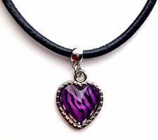 Leather Choker Charm Necklace Vintage Hippy Retro Black Cord Zebra Purple Heart