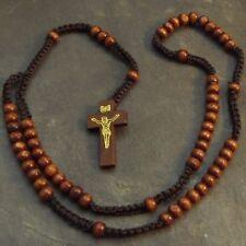 Dark Brown Wooden Cord Rosary Wooden Crucifix Nazareth Jerusalem Israel 61cm