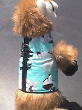 Small Animal Harness - Light Blue with Black & White Doggies - Dog, Cat, Monkey